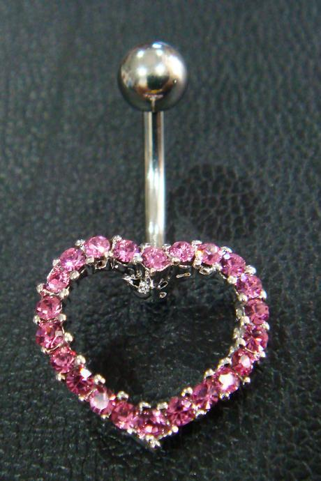 14g 3/8 Heart LOVE Belly Button Navel Rings Ring Bar Body Piercing Jewelry