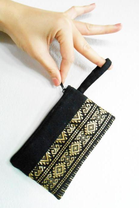 Black Coin Pouch, Change Purse, Small Bag - Thai Pattern Embroidery Fabric Handmade. (KP1004-BK)