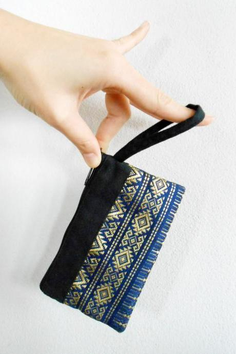 Blue Coin Pouch, Change Purse, Small Bag - Thai Pattern Embroidery Fabric Handmade. (KP1004-BL)