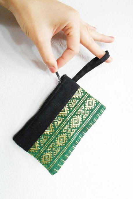 Green Coin Pouch, Change Purse, Small Bag - Thai Pattern Embroidery Fabric Handmade. (KP1004-GR)