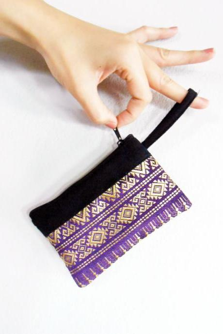 Purple Coin Pouch, Change Purse, Small Bag - Thai Pattern Embroidery Fabric Handmade. (KP1004-PU)