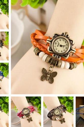 SALE NEW VINTAGE Retro Butterfly Bracelet Leather Quartz watch Bangle Wristwatch