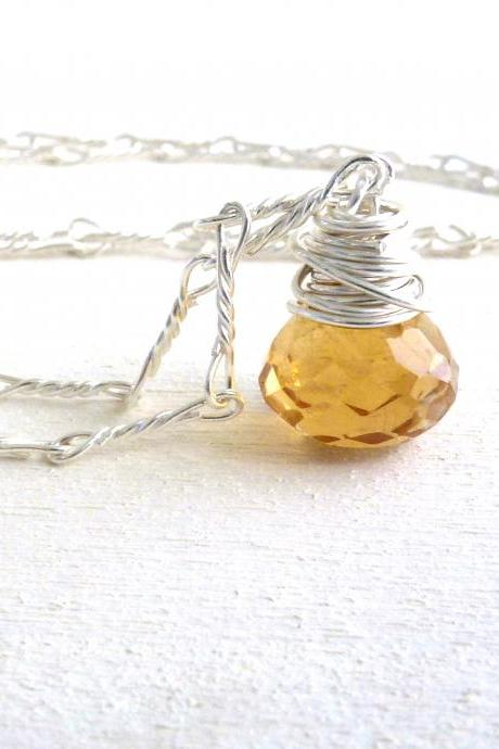 Citrine Wire Wrapped Briolette Necklace in Sterling Silver