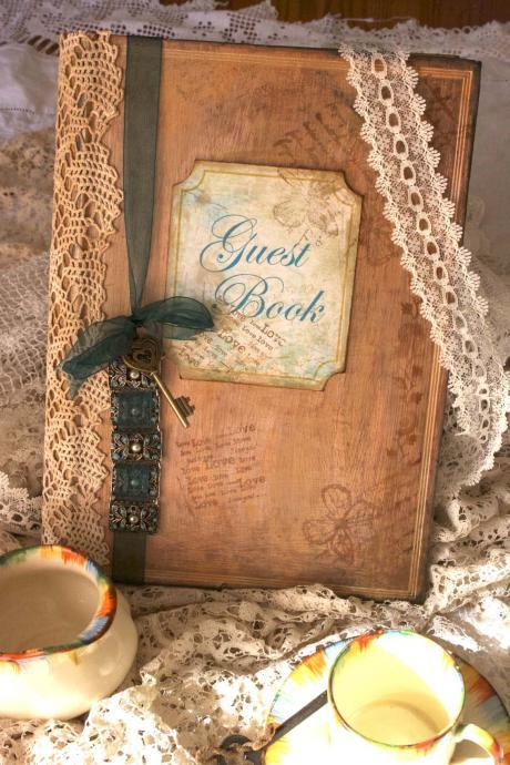 Wedding guest book - vintage shabby chic style, custom