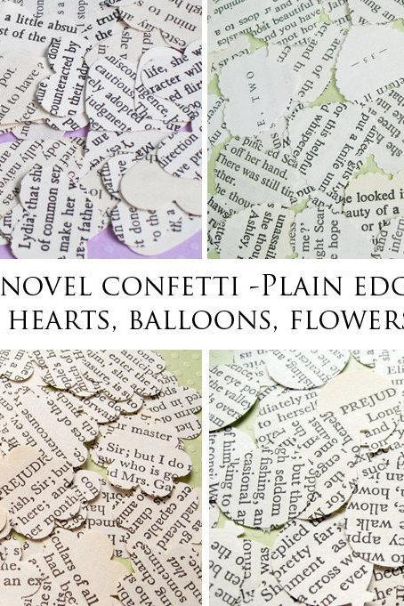 SALE SALE SALE 1000 x Romantic Novel Confetti - Choice of 4 Shapes - Great for Weddings, Invites, Table Decor, Favours