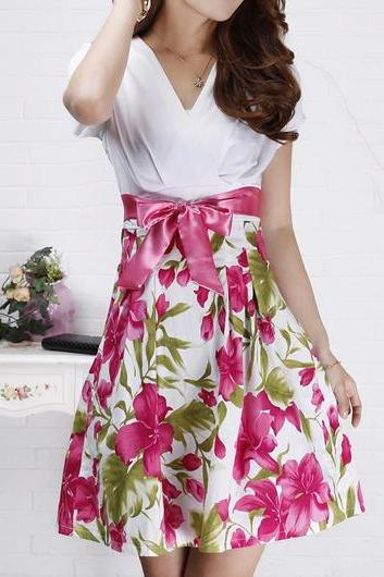High Quality V Neck Short Sleeve Woman Dress - White&Rose