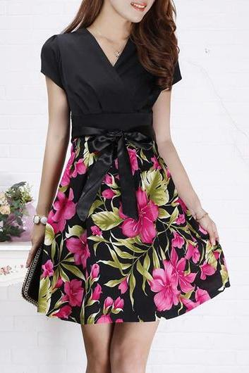 High Quality V Neck Short Sleeve Woman Dress - Black&Rose