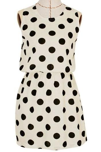 Chic Polka Dot Print Round Neck Woman Tank Dress - White