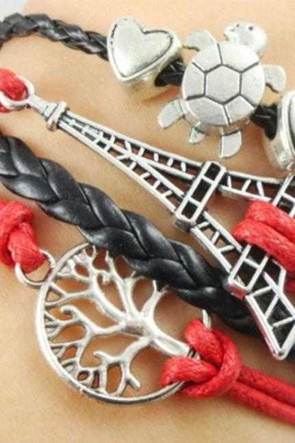 Free shipping NEW DIY Style Jewelry fashion Leather Cute Infinity Charm Bracelet Silver