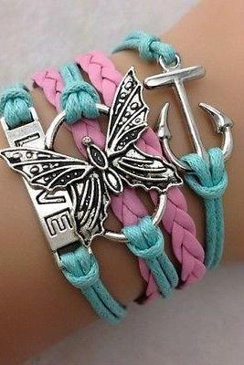 Free shipping NEW Infinity Love Butterfly Anchor Leather Charm Bracelet plated Silver DIY