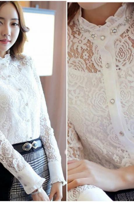 Beautiful 2 pieces Beaded Floral Lace Blouse