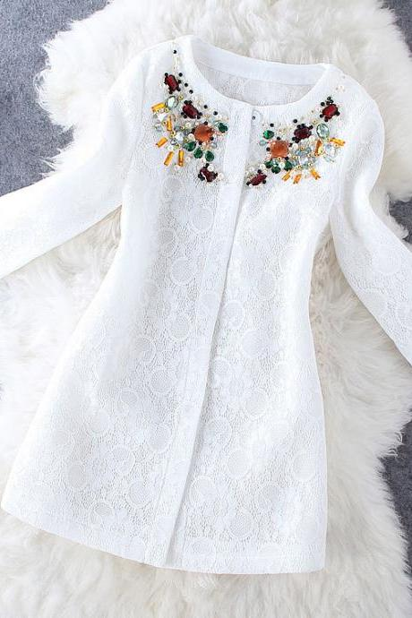 Fashion beaded long-sleeved Coat MG818FJ