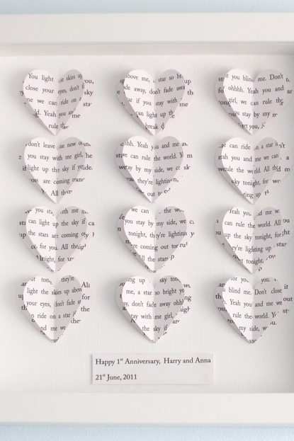 Personalised Text Hearts Box Frame - Perfect for Weddings, Birthday, Anniversaries, Special Occassions