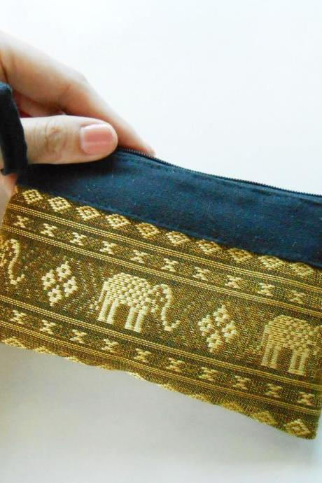 Zipper Coin Pouch Change Purse - Elephant - Small Bag, Embroidery Fabric Thailand Handmade (KP1005-GO)
