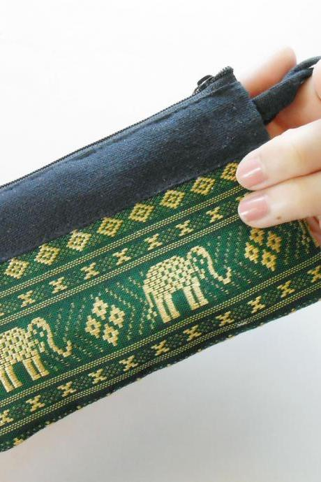 Zipper Coin Pouch Change Purse - Elephant - Small Bag, Embroidery Fabric Thailand Handmade (KP1005-GR)