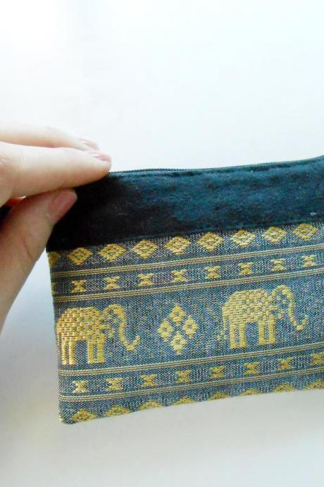 Zipper Coin Pouch Change Purse - Elephant - Small Bag, Embroidery Fabric Thailand Handmade (KP1005-GY)