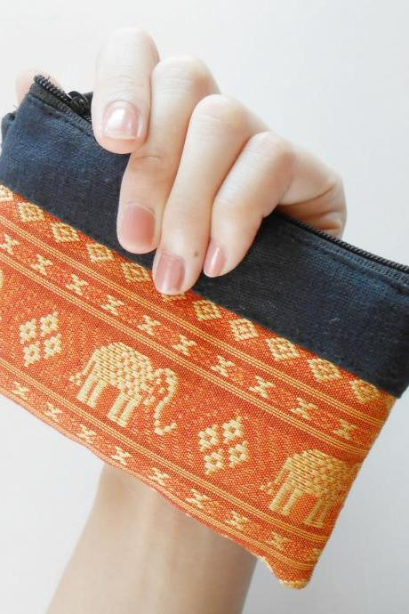 Zipper Coin Pouch Change Purse - Elephant - Small Bag, Embroidery Fabric Thailand Handmade (KP1005-OR)