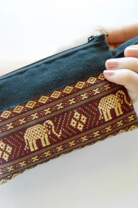 Zipper Coin Pouch Change Purse - Elephant - Small Bag, Embroidery Fabric Thailand Handmade (KP1005-RE)