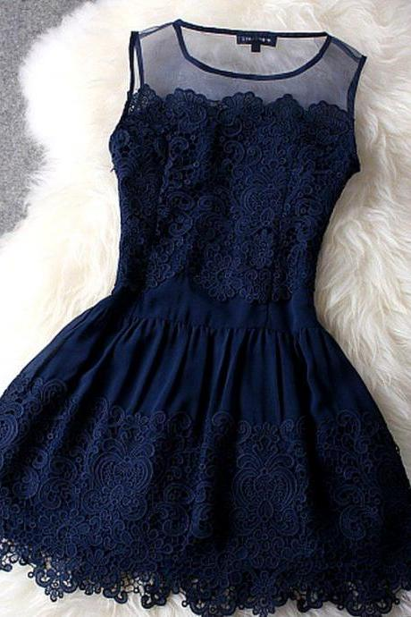 Fabulous Deep Blue Sleeveless Lace Dress