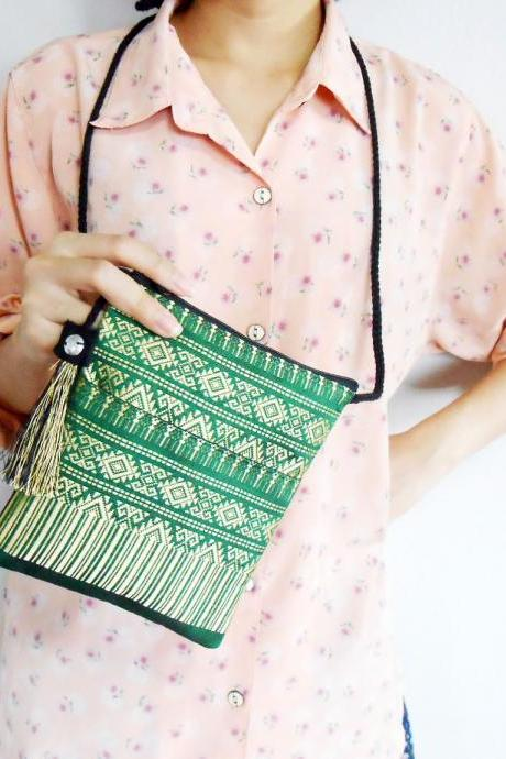 Small Green Bag, Cross body Bag, Long Strap 'Thai Patterns' Woven Fabrics Handicraft with nice Tassel. (KP1006-GR)