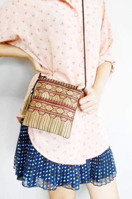 Small Red Bag, Cross body Bag, Long Strap 'Thai Patterns' Woven Fabrics Handicraft with nice Tassel. (KP1006-RE)
