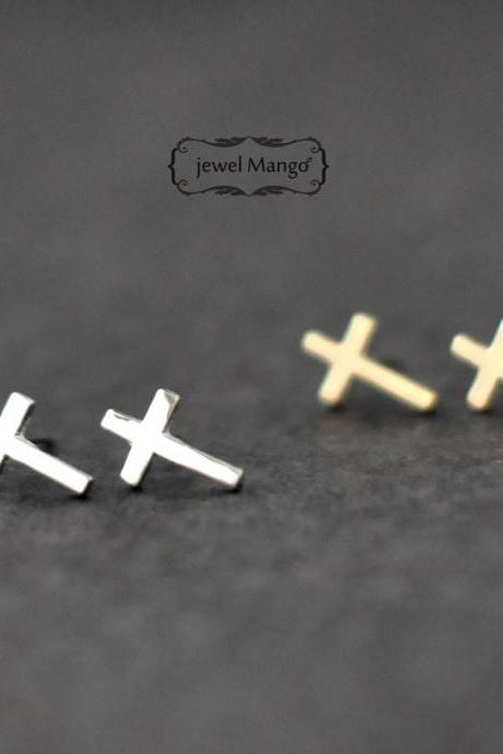 -FREE SHIP- Cross stud earrings -gold or silver