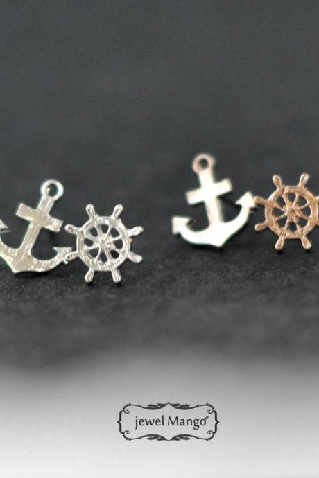 -FREE SHIP-Ship Wheel and Anchor Stud Earrings - gold or silver, silver anchor stud, gold anchor stud, post earrings, Nautical Jewelry, high polish
