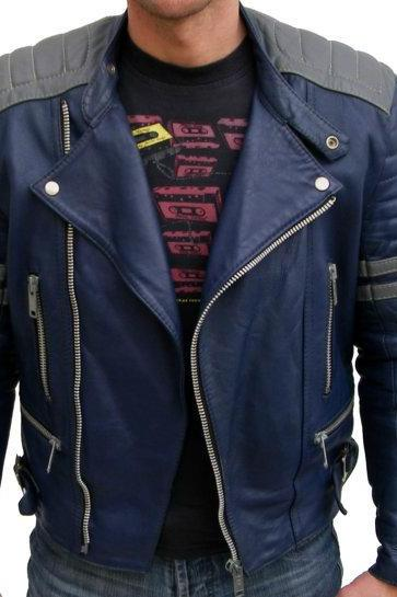 MEN BLUE LEATHER COLOR JACKET, MENS BOMBER JACKET