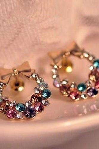 Free shipping New Fashion 1pair Women Lady Elegant Crystal Rhinestone Ear Stud Earrings