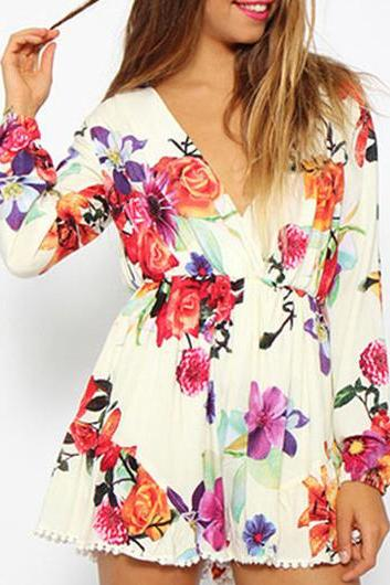 Fashion Floral Long Sleeve Mini Rompers for Woman