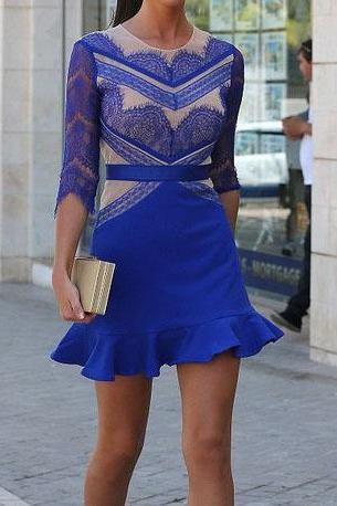 Sexy Blue Lace Dress