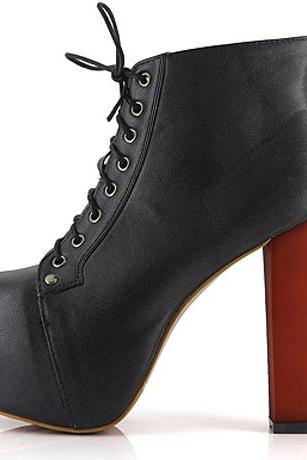 Chic Lace Up Pattern Platform PU Black Chunky High Heels Short Boots