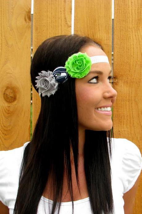 Seattle Seahawks Headband Grey & White Chevron Print Stretch Band Super Bowl Sea Hawk Button, Heather Grey, Lime Green Shabby Chic Flowers