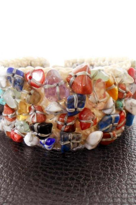 Colorful Mix Stones, Bracelet Handmade, Cuff Bracelet, Crochet Wax String Jewelry. (JB1002)