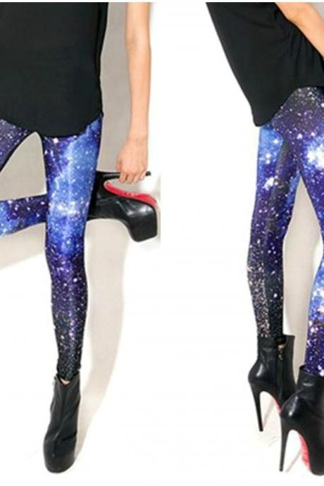 High Quality Blue Galaxy Leggings