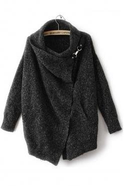 New Style Turtleneck Long Sleeves Black Regular Cardigan Sweater