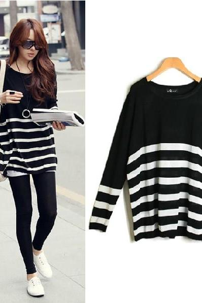 Korean O Neck Long Sleeve Stripe Acrylic Sweater