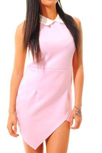 Lovely Pink Turndown Sleeveless Mini Dress for Lady