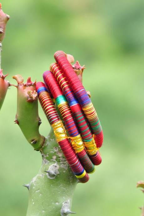 Beautiful Indian Silk Thread Bangles Set