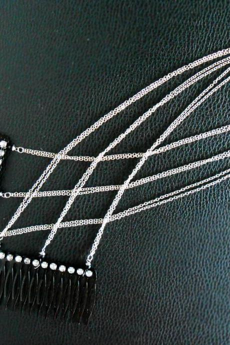 Layered Silver Hair Chain Accessory, Bohemian Chic Diamond Crystal, Hairpiece, Hair Jewelry, Wedding, Celebrity. (JH1002-SI)