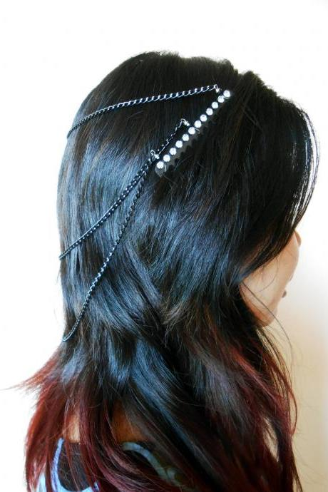 Layered Black Hair Chain Accessory, Bohemian Chic Diamond Crystal, Hairpiece, Hair Jewelry, Wedding, Celebrity. (JH1002-BK)