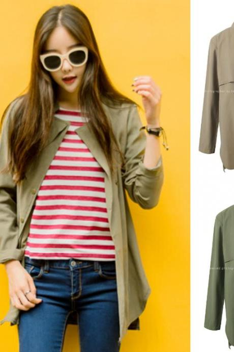 Cardigan Jacket Outerwear Outer Beige Green Khaki Autumn Fall Jumper Stylish Office Casual Women Natural Fit Boxy 438732660 마가렛