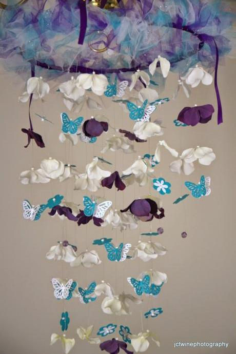 Butterfly Nursery mobile Lavender, Teal, White,Purple , Nursery Decor, Baby Shower Gift, Chandelier