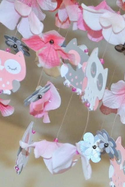 Baby Owl Nursery mobile Pink/Gray/White, Nursery Decor, Baby Shower Gift, Chandelier