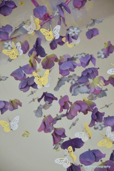 Butterfly Nursery mobile Lavender, Yellow, Gray and Purple , Nursery Decor, Baby Shower Gift, Chandelier