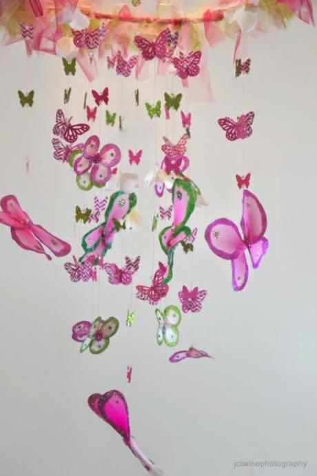 Butterfly Nursery Mobile Pink, Green and White Crib mobile, Nursery Decor, Baby Shower Gift, Chandelier READY TO SHIP