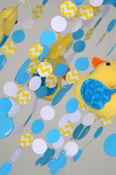 Rubber Ducky Crib Nursery Mobile (Yellow/Turquoise) Nursery Decor, Baby Shower Gift, Baby Chandelier