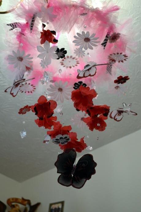 Hot Pink/White/Black Butterfly Nursery mobile Nursery Decor, Baby Shower Gift