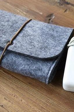 Felt Charger Holder Cable Holder Charger Case USB Storage Bag USB Bag Earrings Ring Container Gathering Pouch Charger Storage dark grey