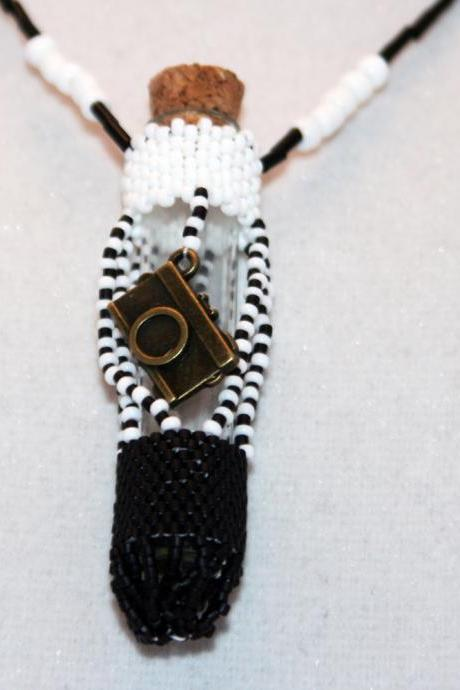 Beaded Bottle Necklace in Black and White with Camera Charm